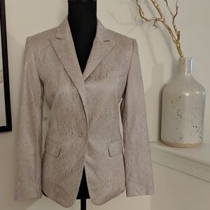 Snake Print and Suede Textured Blazer